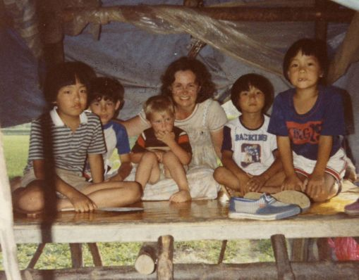1982 08 Aug 11 In Subak Pat with kids